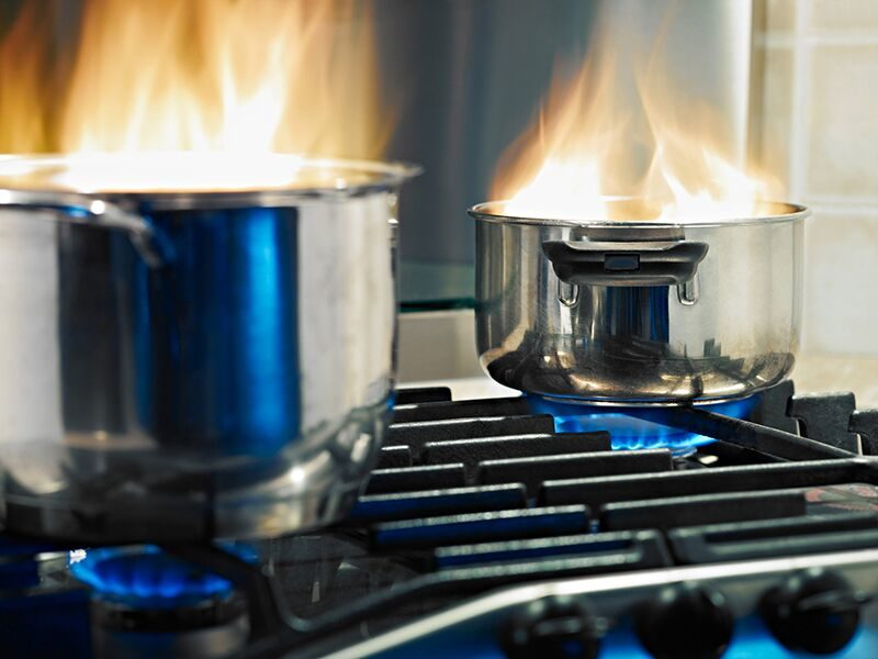 pots on fire, prevent grease fires